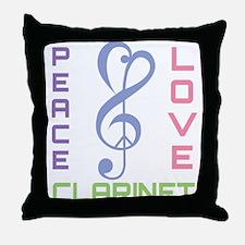Peace Love Clarinet Music Throw Pillow
