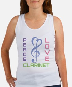 Peace Love Clarinet Music Women's Tank Top