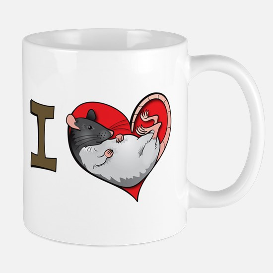 I heart rats (albino and hooded) Mug