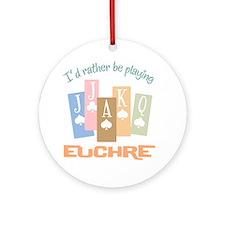 Retro Rather Play Euchre Ornament (Round)