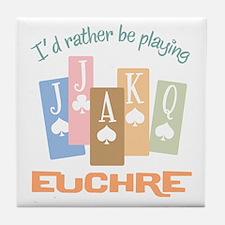 Retro Rather Play Euchre Tile Coaster