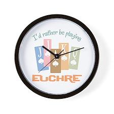 Retro Rather Play Euchre Wall Clock