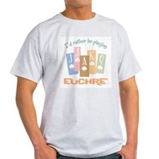 Retro Rather Play Euchre Ash Grey T-Shirt