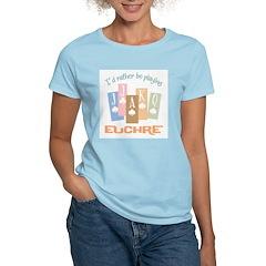 Retro Rather Play Euchre Women's Pink T-Shirt