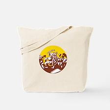 Losi Defeating God Circle Woodcut Tote Bag