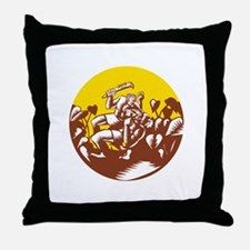 Losi Defeating God Circle Woodcut Throw Pillow
