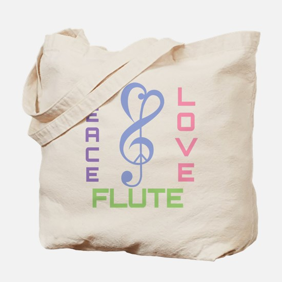Peace Love Flute Music Tote Bag