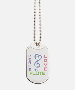 Peace Love Flute Music Dog Tags