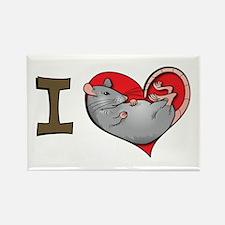 I heart rats (grey) Rectangle Magnet