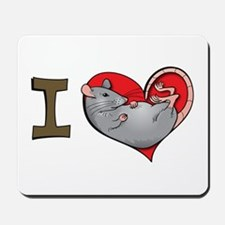 I heart rats (grey) Mousepad