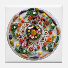 Veg and Fruit Mandala Tile Coaster
