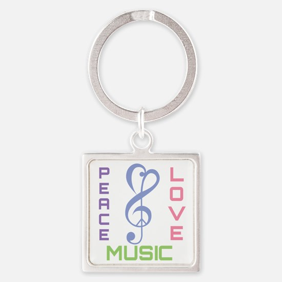 Peace Love Music Square Keychain