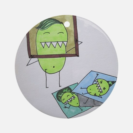 Pea Monster Picture Day Round Ornament
