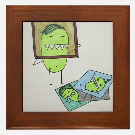 Pea Monster Picture Day Framed Tile