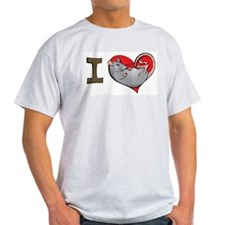 I heart rats (grey) Ash Grey T-Shirt