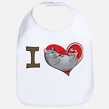 I heart rats (grey) Bib