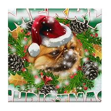 MerryChristmas Pekingnese Tile Coaster