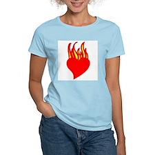 Fire Heart Women's Pink T-Shirt