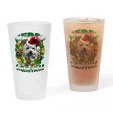 MerryChristmas Maltese Drinking Glass