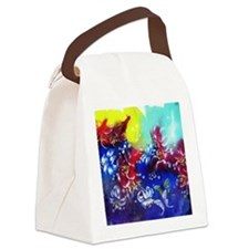 Oriental Flower Motif Canvas Lunch Bag