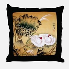 Oriental Swan Motif Throw Pillow