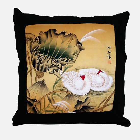 Oriental Swan Motif Throw Pillow