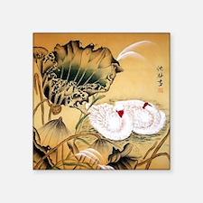 "Oriental Swan Motif Square Sticker 3"" x 3"""