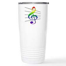 Treble Clef and Staff Rainbow Travel Mug