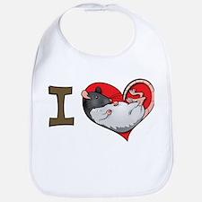 I heart rats (hooded) Bib