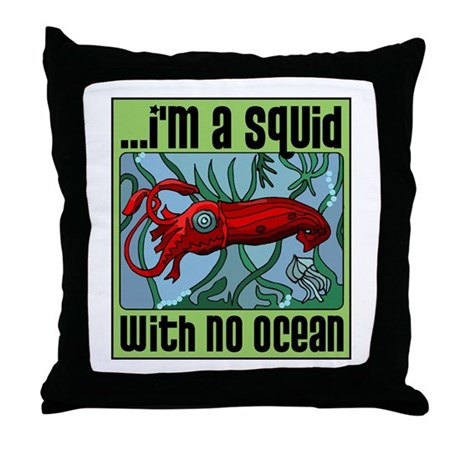 Squid with no Ocean Throw Pillow