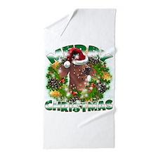 MerryChristmas Dachshund Beach Towel