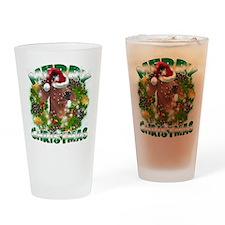 MerryChristmas Dachshund Drinking Glass