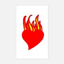 Fire Heart Rectangle Decal