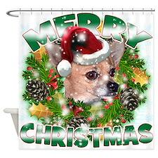 MerryChristmas Chihuahua Shower Curtain