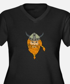 Norseman Viking Warrior Head Drawing Plus Size T-S