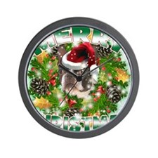 MerryChristmas Boston Terrier Wall Clock