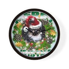 MerryChristmas Black Pekingnese Wall Clock