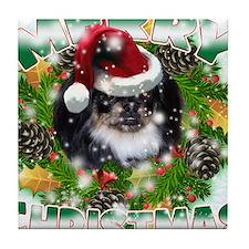 MerryChristmas Black Pekingnese Tile Coaster