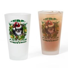 MerryChristmas Black Pekingnese Drinking Glass