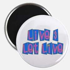 "Retro Live and Let Live 2.25"" Magnet (100 pack)"