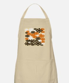 Retro Flowers Duvet Cover Brown Orange Apron
