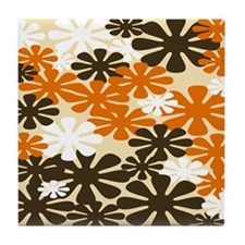 Retro Flowers Duvet Cover Brown Orange Tile Coaste