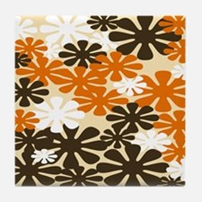 Retro Flowers Duvet Cover Brown Orange Tile Coaste