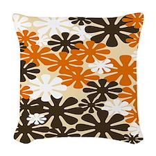 Retro Flowers Duvet Cover Brown Orange Woven Throw