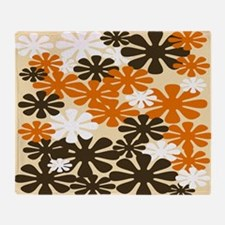 Retro Flowers Duvet Cover Brown Orange Throw Blank