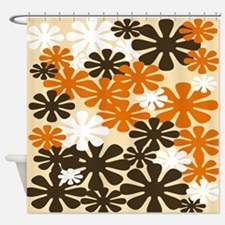 Retro Flowers Duvet Queen Shower Curtain