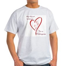 Pekingese Heart Belongs Ash Grey T-Shirt