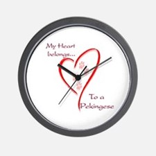 Pekingese Heart Belongs Wall Clock