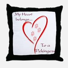 Pekingese Heart Belongs Throw Pillow