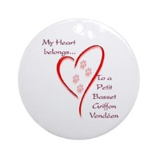 PBGV Heart Belongs Ornament (Round)